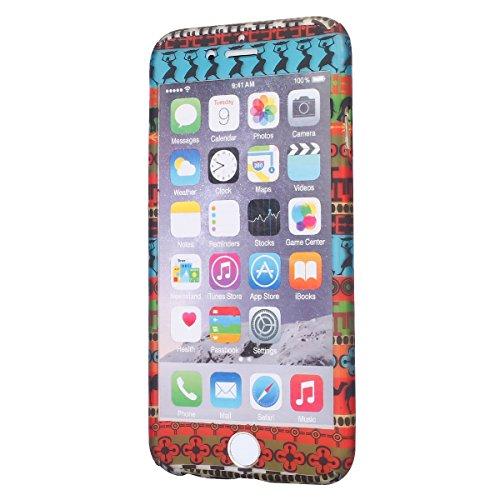 Ukayfe 360 Grad PC 2 in 1 Custodia per iPhone 6 plus iPhone 6S plus,UltraSlim Policarbonato Copertura Cover Case Protettiva Morbida Soft TPU Silicone Gomma Gel Glitter Brillantini Bling,Moda Serie Com Donna di modello tribale