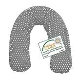 Sugarapple Stillkissen Seitenschläferkissen mit Mikroperlen Füllung, Kissen Bezug 100% Baumwolle, ideal als Lagerungskissen oder Schwangerschaftskissen, 180 x 34 cm, Grau mit weißen Sternen