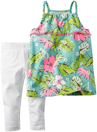 Carter's 2 teilige Kombination für Mädchen Tunika + Caprihose / Hose Baby girl dress Sommer Outfit Set T-Shirt Bluse (6 Monate, grün/rosa) - Carters Baby-shirt