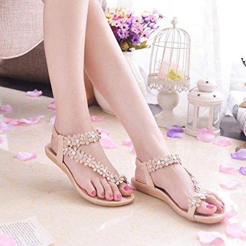 OVERMAL Femmes Eté Bohême Perles Fleur Chaussures Flip-Flop Sandales plates Kaki