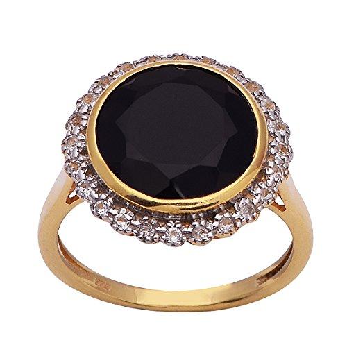 Shine Jewel - 925 Sterling-Silber Rundschliff schwarz