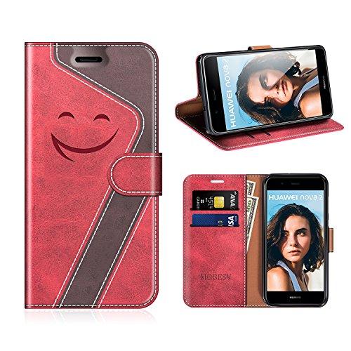 MOBESV Smiley Huawei Nova 2 Hülle Leder, Huawei Nova 2 Tasche Lederhülle/Wallet Case/Ledertasche Handyhülle/Schutzhülle für Huawei Nova 2, Rot/Dunkel Violett
