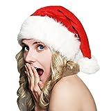 Romacci Bonnet de Père Noël en Peluche Adulte Unisexe Géguisement pour Noël