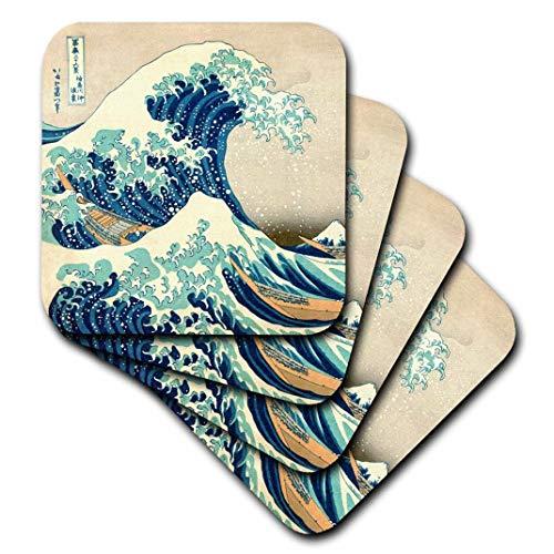 3dRose CST 155631_ 3The Great Wave Off Kanagawa vom japanischen Künstler Hokusai Dramatische Blue Sea Ocean Ukiyo e-Print 1830Keramik Fliesen Untersetzer (Set von 4)