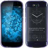 PhoneNatic Case kompatibel mit Yota Yotaphone 2 - lila Silikon Hülle transparent + 2 Schutzfolien