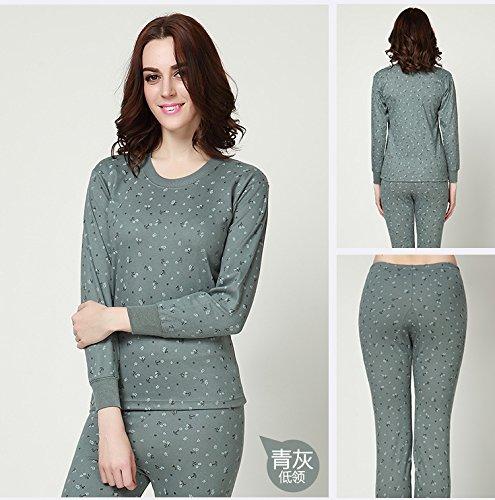 OPPP Ensemble de Sous-Vêtements Thermique Sous-vêtements pour femmes en coton d'âge moyen et vieux base de compression à chaud longue couche inférieure pour sous-vêtements thermiques, col rond gris vert, XXL