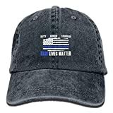 ewtretr Blue Lives Matter Sticker Vintage Washed Dyed Cotton Twill Low Profile Baseball Cap Black Adjustable Unisex Suitable for All Seasons
