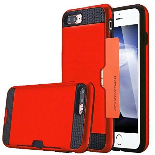 iPhone 7 plus hülle, Lantier [Card Slot Wallet Series] Dual Layer Hybrid Rüstung Robuste Kunststoff Hard Shell Flexible TPU Stoßdämpfung Defender Case für iPhone 7 Plus (5,5 Zoll) Black Red