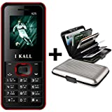 I Kall K25 Multimedia Mobile With Wireless FM Feature And Aluminium Wallet- Red