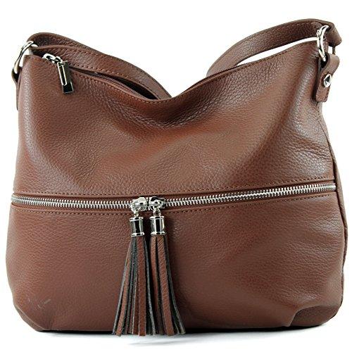 modamoda de - ital. Ledertasche Damentasche Umhängetasche Tasche Schultertasche Leder T159 Braun