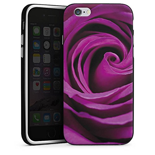 Apple iPhone X Silikon Hülle Case Schutzhülle Lila Rose Blüte Silikon Case schwarz / weiß