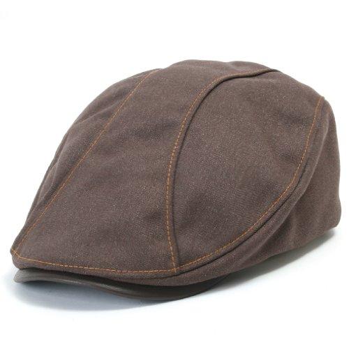 ililily Leather Bill Newsboy Flat Cap Cabbie Gatsby ivy Irish Driver Hunting (flatcap-510-4) (Distressed Leather Flat Cap)