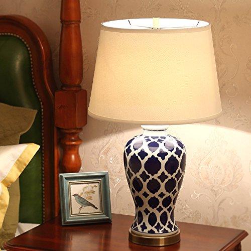 China Crema (Europäische Lampe China Keramik Schlafzimmer Nachttischlampe Retro Luxus dekorative Schreibtisch Lampen, Breite: 39cm, hoch: 66cm)