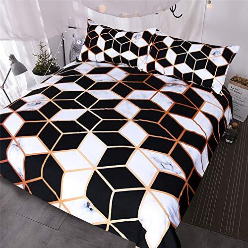 JWANS Geometrische Bettwäsche Set Schwarz Weiß Bettbezug Marmor Blöcke Cube Bettdecke Modische Tagesdecken Volle Königin
