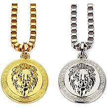 CACTUS88 Moda 2 colores Chapado en oro Exagerado 3D Lion Head Estilo de moneda Collar colgante