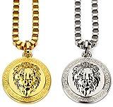 CACTUS88 Mode 2 Farben Vergoldet Übertrieben 3D Löwe Kopf Münze Stil Anhänger Halskette (Gold)