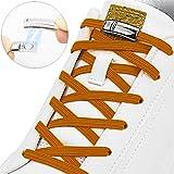 Opplei - Hebilla magnética Lazy Tieless Cordones elásticos Impermeables/duraderos, Off Silicona Caucho Zapatillas Cordones para niños y Adultos fácil Limpieza 2 Pares (4 Unidades), Color marrón