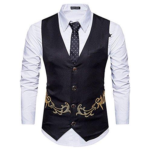 männer im Anzug, Weste, Weste, Weste für männer mit Bestickt,schwarz,XXL -