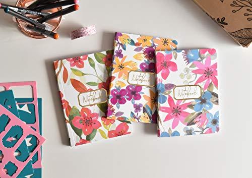 Pack 3 Bullet Journal A6/Cuaderno Punteados - Cuaderno de Tapa Flexible - Papel Grueso Premium 120gr (Bloom)