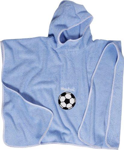 Playshoes Jungen Bademantel Kuschelweicher Frottee Badeponcho Fußball, Gr. One size, Blau (bleu)