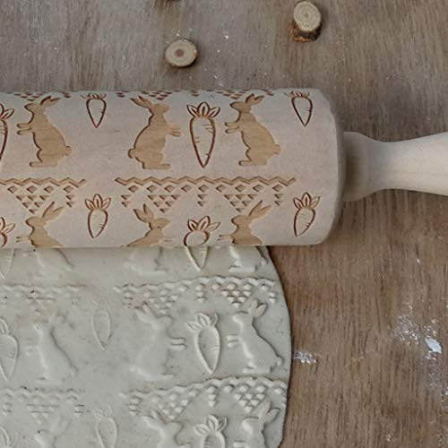 Ostern Beste Wohnkultur !!! Beisoug Easter Egg Model Rabbit Nudelholz Graviertes, geschnitztes Holz, geprägtes Küchenwerkzeug (35 cm)