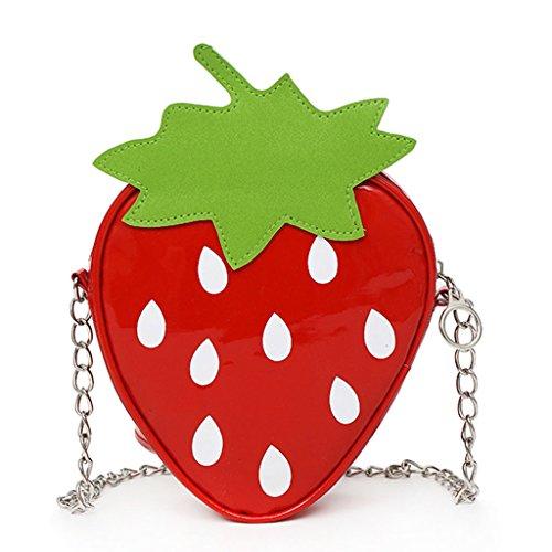Tote Kleine Kostüm Mädchen - Lamdoo Süße Frauen Mädchen Fruit Schultertasche Messenger Tote Geldbörse Crossbody Taschen Handtasche Strawberry Erdbeere