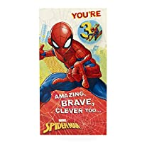 Age 3 Birthday Card - Spiderman Birthday Card with Spiderman Birthday Badge, 3rd Birthday, Ideal Gift Card for Kids - Marvel