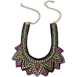 Collar - TOOGOO(R)Mujer Retro Perlas Diamantes de imitacion Multicolor por exagerada etico Diseno Collar de aleacion