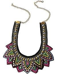 Collar - TOOGOO(R)Mujer Retro Perlas Diamantes de imitacion Multicolor por exagerada etico