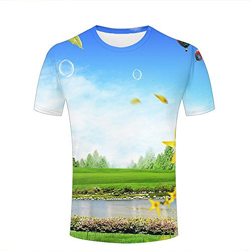 chenjing custom Herren Damen Unisex 3D Tshirts Bubbles Grassland Creek Tree Summer Casual Tees XXXL