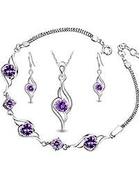 Encontrar 925 Silver Diamond Accent Amatista ángel Tianyu pendiente Set + collar colgante + pulsera (Amatista)