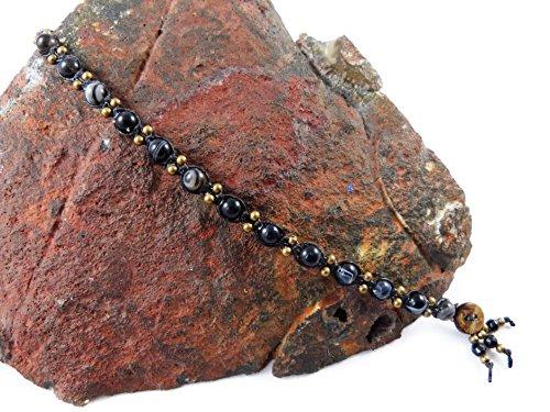 Schwarz Achat Fußkettchen Makramee Thailand Tribal Surfer Boho Hippie Perlen Fußband (Verziert Gestreifte)