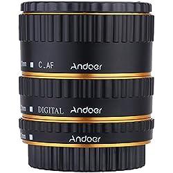 Andoer Coloré Métal TTL autofocus AF Macro Tubes d'extension anneau pour Canon EOS EF EF-S 60D 7D 5D II 550D or