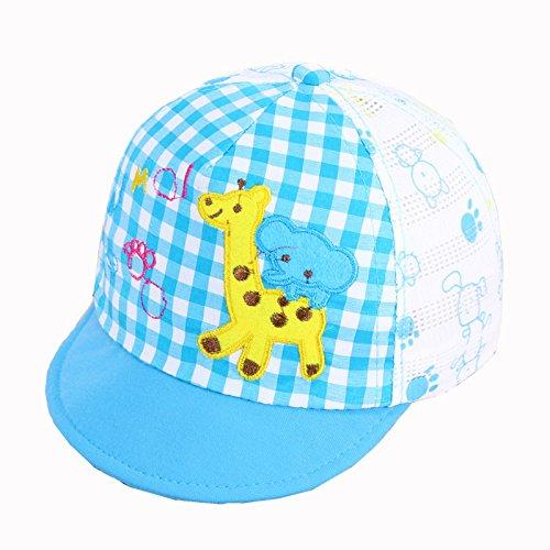 Wicemoon Baby Baumwollhut Sonnenhut Bestickt Pony Plaid Cap Kinder Sommer Strand Hut Empfohlen für 0-2 Jahre Baby 45-47 cm blau - Pony Plaid Hut