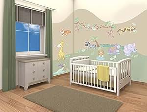 Walltastic Kit de décoration pour chambre de bébé thème safari dans la jungle