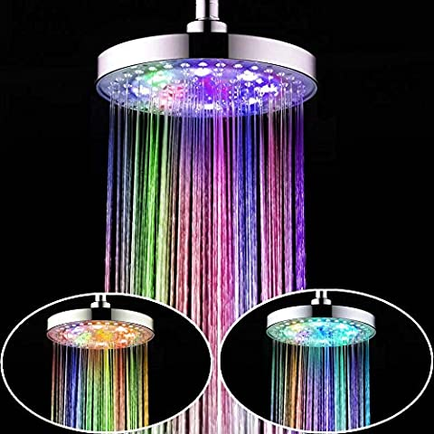 8pulgadas Redondo Cromado precipitaciones cabeza de ducha LED 7colores automático romántico que cambia de color home baño parte superior ducha cabeza