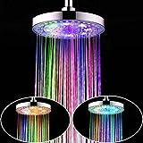20,32 cm latencia de transición cromado simply Taps alcachofa de ducha con luz 7 colores luz Home cambiador automático de baño en la parte superior de estilo romántico con alcachofa de ducha