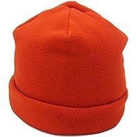 Outfly Gorro Forro Polar Unisex Gorro de Calavera Beanie Hats de Doble Capa,Naranja