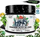 ⭐ Poudre Charbon Actif de Coco 60 Gr ⭐ NABÜR  3-in-1  Natural Activated Teeth Whitening (MENTHE POIVRÉE)