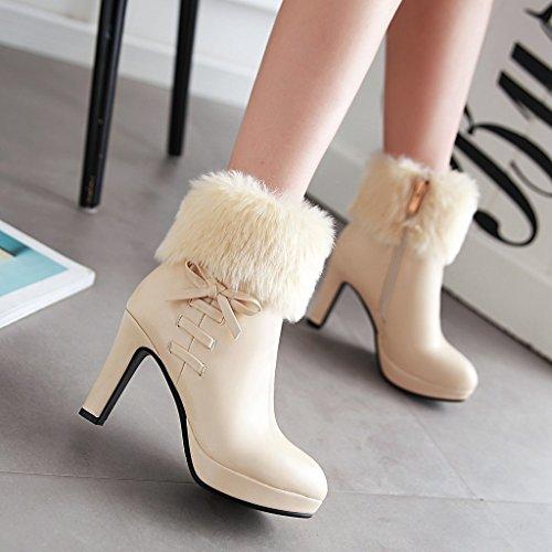 9cm Winterstiefel Elegant Plateau Und Heels Fashion Party Reißverschluss Schleife Absatz High Mit Beige Damen Ye Fell Schuhe Stiefeletten Blockabsatz tO6wPgq
