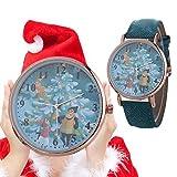 Armbanduhren Damen Mode Frauen Weihnachtsmuster Quarzuhr Lederband Gürtel Tischuhr