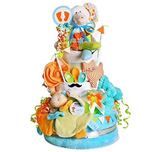 MomsStory - Tarta de pañales, niño o elefante, regalo de bebé para nacimiento, bautizo,...