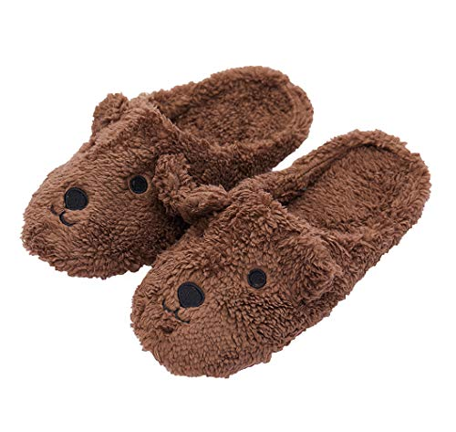iHomey Women Indoor Slippers with Plush Fleece Fuzzy Cartoon Animal Non-Slip Slippers for Winter House