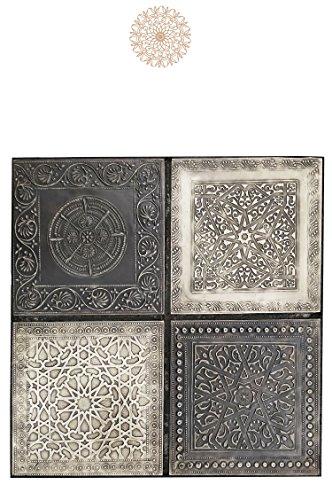 4er Set Orientalisches Wandbild Wanddeko Sahra-4-30cm aus Metall | Orientalische Vintage Wanddekoration Für Wohnzimmer, Schlafzimmer oder Küche | marokkanisches Fliesen Design als Dekoration
