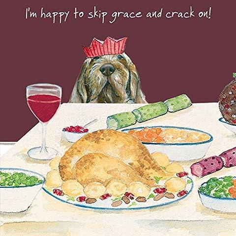 Funny Irischer Wolfshund Hund in Party Hat Weihnachten Karte Türkei Abendessen–Single Karte