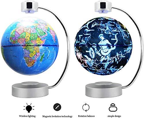 WANNA.ME Magnetschwebekugel-Sich hin- und herbewegende Weltkarte und 88 Konstellations-8-Zoll-pädagogische Geschenke für Kinder, Innenministerium-Schreibtisch-Dekoration