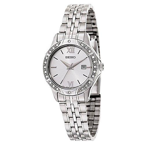 Seiko Ladies White Dial Stainless Steel Swarovski Stone Set Bracelet Watch