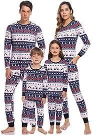 Aibrou Pijamas de Navidad Familia Conjunto Pantalon y Top Pijamas Mujer Hombre Invierno Manga Larga Pijama de
