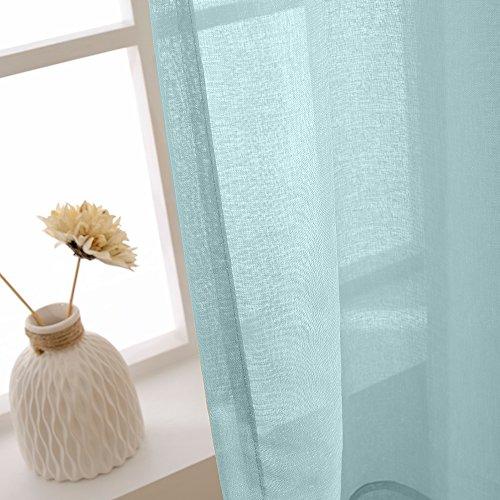 TOPICK Sheer Vorhang mit Ösen transparent Gardine 2 Stücke Gaze paarig schals Fensterschal Vorhänge 241 cm x 140 cm(H x B),2er-Set,Blau - 5