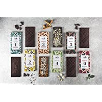 Chocolate vegano Conjunto para obsequio 6 sabores chocolate negro/pistachos y sal/rosa y pimienta negra/menta/lavanda y limón/almendras y canela